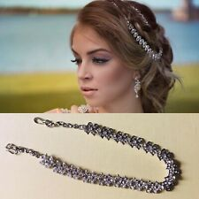 Silver colour hair chain matha patti hijab wedding boho prom diamante headpiece