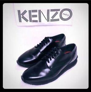 KENZO Paris Platform Dress Shoes Laced Up Black Leather US10