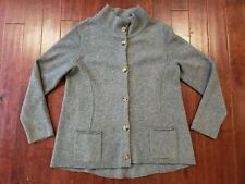 Eileen Fisher Sweater Cardigan Large Full Neck Buttoned Wool Cashmere Grey Thick