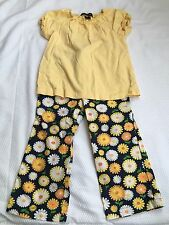 Gymboree Girls 2t Daisy Days Pants  Navy Yellow Flowers Yellow Lands End Shirt