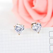 Fashion earrings Clear cute heart crystal small stud earrings Yellow gold filled