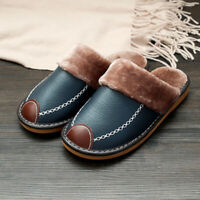 Men's Home Slippers Winter Warm Leather Indoor Flats Comfy Close Toe House