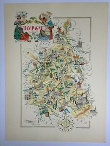 CHAMPAGNE FRANCE 1951 by JACQUES LIOZU LARGE PICTORIAL MAP XXe CENTURY