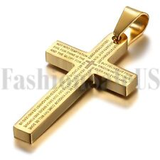 Men's Stainless Steel Gold Tone Bible Cross Pendant Charm Necklace 21 inch Chain