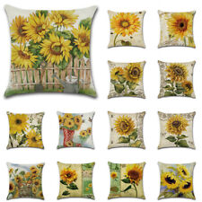 "18""Indoor Decorative Linen Yellow Sunflower Cushion Cover Farm Couch Pillow Case"