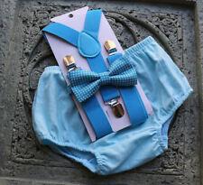 1st Birthday boy cake smash diaper cover bow tie boy clothes Light blue, blue
