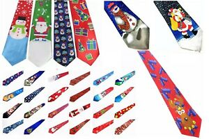 NEW Christmas 9.5cm Wide Budget Neck Tie Santa Snowman Novelty Cute Ugly Funny