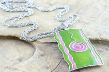 Green Oblong Enamel Necklace presented on a double fox tail chain