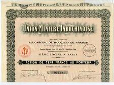SCRIPOPHILIE / ACTION // UNION MINIERE INDOCHINOISE DE CENT FRANCS
