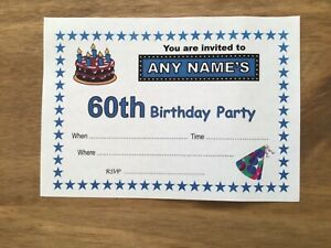 Personalised 60th BIRTHDAY PARTY Invitations - Pack of 20 -Quality Card-A6 size