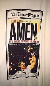 2010 New Orleans Saints SUPER BOWL XLIV Champion AMEN Newspaper XL Local T-SHIRT