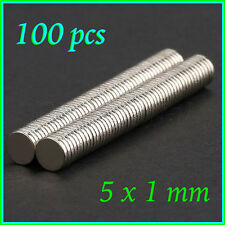 100 pcs 5mm x 1mm Disc Rare Earth Neodymium Super Strong Magnets N35 Craft Model
