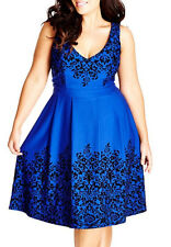 *101 CITY CHIC BORDER FRENCH BLUE FLOCKED FIT & FLARE DRESS    SZ 14W