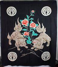 Japanese Tsutsugaki  Shishi lion design silk futon cover Meiji indigo dyed /I20