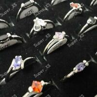 50pcs Pure Zircon Silver Plated Rings Wholesale Jewelry Women Fashion Mixed Lots