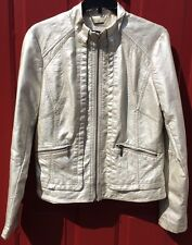 A.N.A. A New Approach Sz M Metallic Ivory White Coat Lined Faux Leather