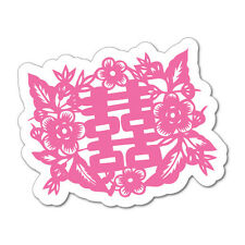 Chinese Wedding Double Happiness Pink Label Stickers  #7104EN