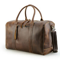 Large Men's Leather Travel Luggage Duffle Gym Carry On Handbag Shoulder Bag