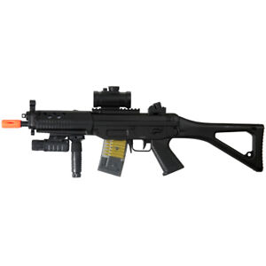 DOUBLE EAGLE ELECTRIC FULL AUTO AEG AIRSOFT RIFLE GUN + RED DOT SCOPE 6mm BB BBs