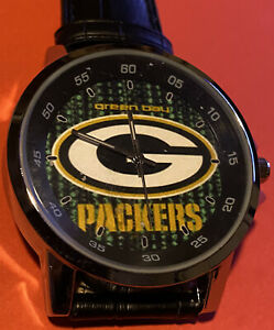 NFL Green Bay Packers Men or Ladies Black Leather Band Watch Beautiful Fashion