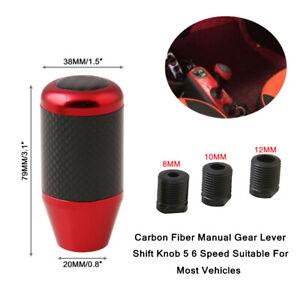 5 6 Speed Car Auto Vehicles Carbon Fiber Aluminum Manual Gear Lever Shift Knob