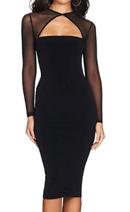 Herve Leger Bodycon Bandage Cocktail Dress Mesh Long Sleeves Black  A181 *SMALL