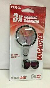 Carson MagniLook 3X Hanging Pendant Magnifier with 6X Spot Lens Magnifier
