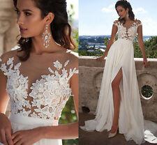 Sexy White/Ivory Wedding Dress Beach Bridal Gown Custom Size 4-6-8-10-12-14-16+