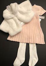 1556f9aa9aa2 NWT INFANT BABY GIRLS 3 6 Months TAHARI BABY 3pc Dress Faux Fur Jacket  Tights