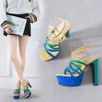 Women Ladies Peep Toe Platform Buckle Ankle Strap Sandals High Block Heels Shoes