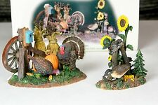 Dept 56 Snow Village Retired Turkeys & Geese In The Field #52939 Fall Theme RARE