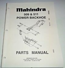 Mahindra 509 & 511 Power Backhoe Parts Catalog Manual Book