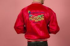 Vintage red satin embroidered Bush Brothers Beans harrington jacket staff issue