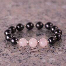 Shungite bracelet # Shungite, Rose Quartz and 925 silver # Healing & Protection