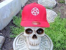 pentagram white embroided red baseball hat slayer pagan death metal 666