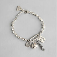 New Retro Girl Genuine s925 Sterling Silver Doll Smile Bracelet Link Chain