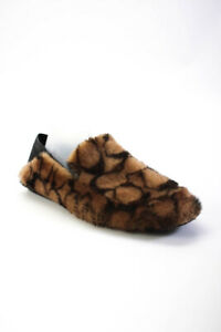 Coach Mens Leather Fur Slip On Patterned Holly Slipper Brown Size 11.5