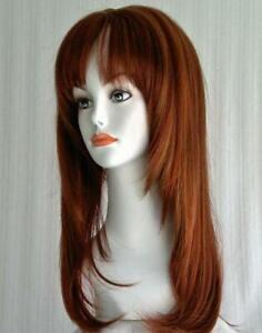 OUJF10670 long design straight women Wig health wine copper red  hair wigs