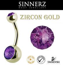 14g 1.6mm ZIRCON GOLD ZIRCON STEEL BELLY BAR  BELLY RING HYPOALLERGENIC SINNERZ