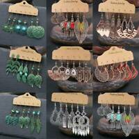 3Pairs Boho Womens Hook Earrings Set Antique Ear Stud Drop Dangle Jewelry Gift~