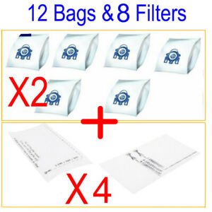12 Bags & 8 Filters For Miele Vacuum Cleaner S2110 Chilli Red S2111 S2120 S2121