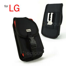 For LG Stylo 4 Heavy Duty Rugged Nylon Holster Pouch Case w/Clip- FIT Bulky Case