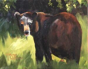 Norma Wilson Original Oil Bear Woods Wild Animal Painting Art