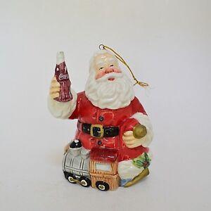 Porcelain Coca Cola Santa Christmas Ornament 2001 Coke Train