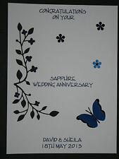 HANDMADE PERSONALISED SAPPHIRE WEDDING 45th ANNIVERSARY CARD