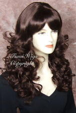 Silky Touch Curly Wig in Dark Cherry Brown/100% Japanese Fibre Brilliant Quality