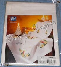 Vervaco CHRISTMAS CANDLE Tablerunner Stamped Embroidery Kit –With Floss & Edging