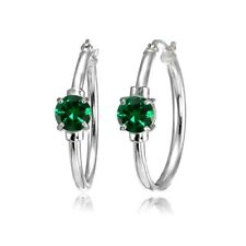 Solitaire Simulated Emerald 25mm Hoop Earrings in Sterling Silver