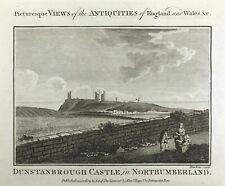 DUNSTANBOROUGH CASTLE IN NORTHUMBERLAND, Antique Print c1795 Original engraving