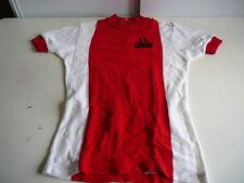 maillot de vélo vintage AS Cussay Berger maille rouge et blanc 62cm sur 44cm